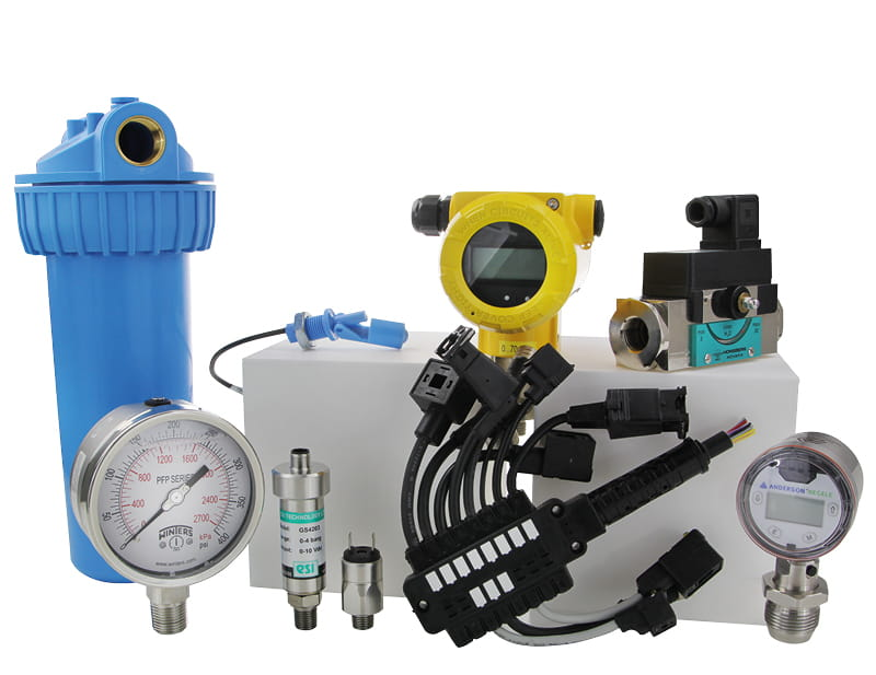 Group shot of various products from the Pressure and Flow business area