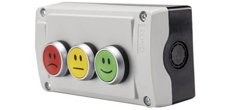 BACO pushbuttons box, three buttons red sad face, yellow straight face, green happy face