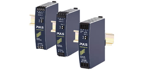 three Puls CP5 power supplies mounted on din rail