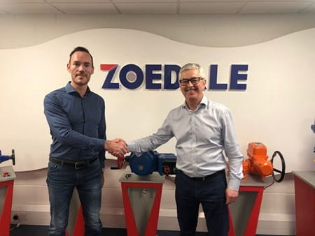 Tim, owner of Zoedale and Richard, MD of OEM Automatic, shaking hands
