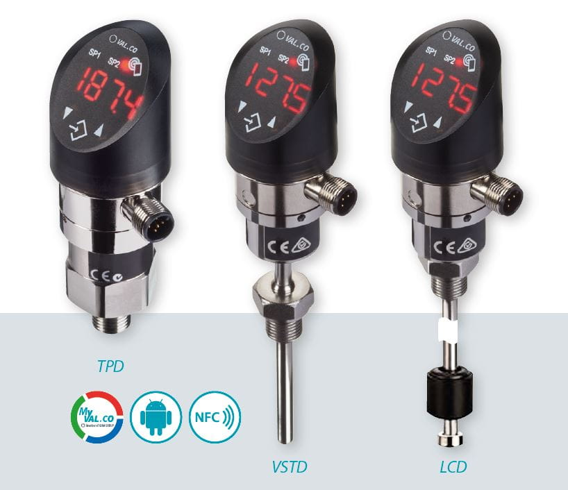 Valco new Sensorbar range TPD, VSTD and LCD sensors for temperature, level and pressure