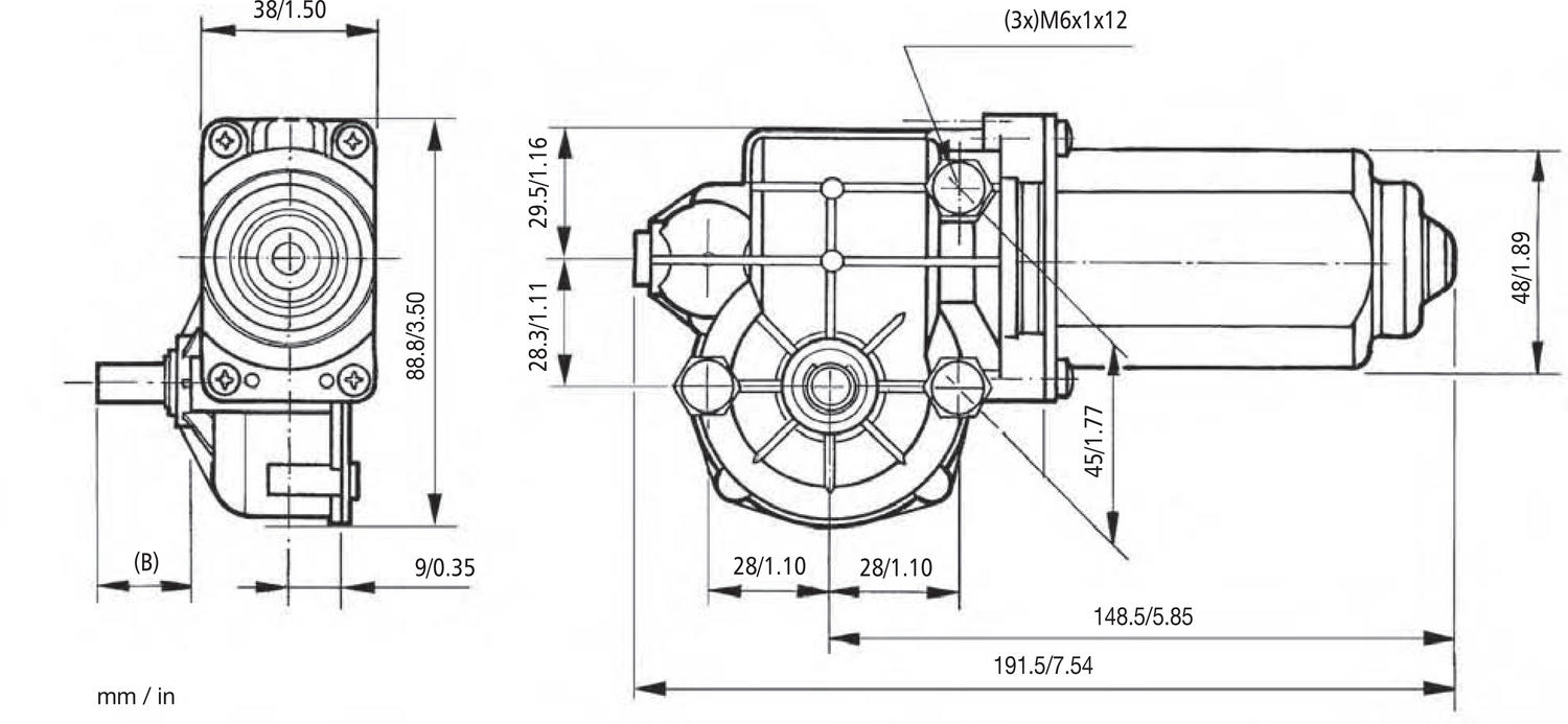 317 dc wiper motor with worm gearbox