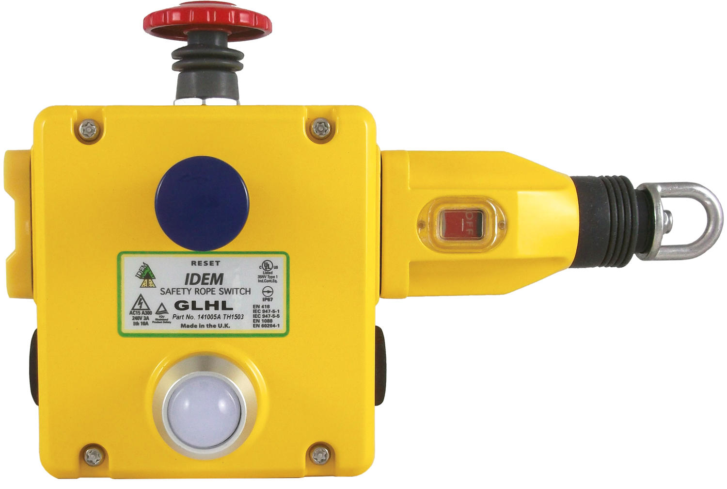 Heavy duty safety rope pull switch (left hand) GLHL & (right hand) GLHR