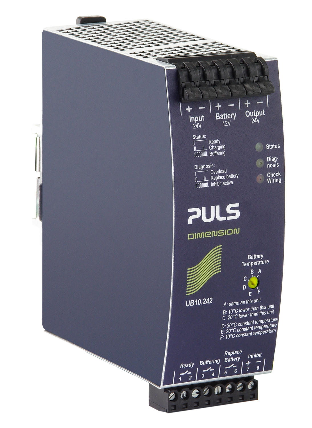 24 V dc UPS for external battery 17-130 Ah. 10 A